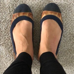 JCREW navy blue and brown ballet flats